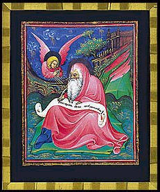 Bible of Niccolo, commissioned 1435, 'Johannes at Patmos', miniature done by Belbello da Pavia,