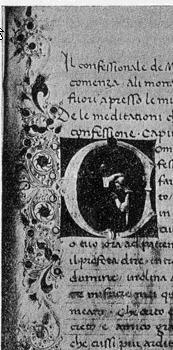 From a Polismagna manuscript, the miniature shows a kneeling Michele Savonarola