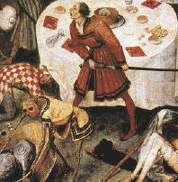Breughel, part of Triumph of Death, the fighting card-player is the most active part of the picture