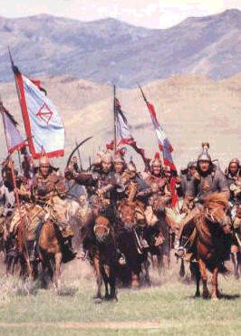 Huck Meyer's Mongols on their way to a round of Doppelkopf in the pub S�dbahnhof. Huck Meyers's view: Mongols were in 1241 in around 150 km distance east of Praha.